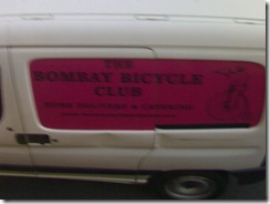 The Bombay Bicycle Club! (on a car) - an eatery